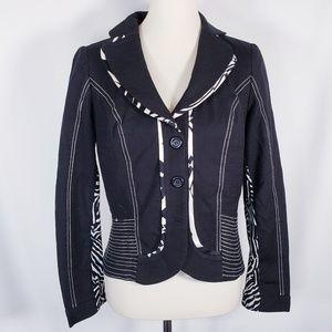 ALBERTO MAKALI Blazer Jacket Black Zebra Mesh M